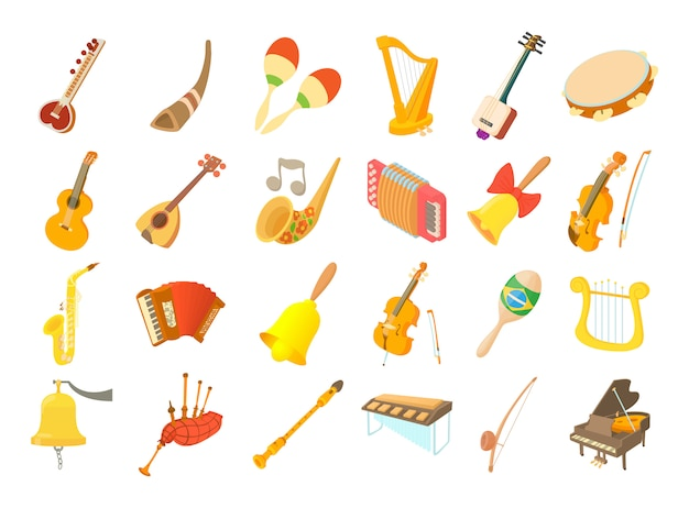 Set di icone di strumenti musicali