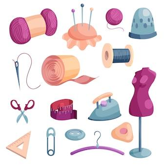 Set di icone di strumenti su misura. un'illustrazione del fumetto di 16 strumenti del sarto icone per il web