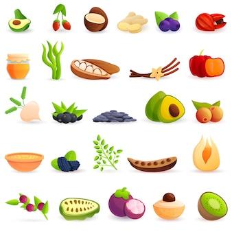 Set di icone di superfood, stile cartoon