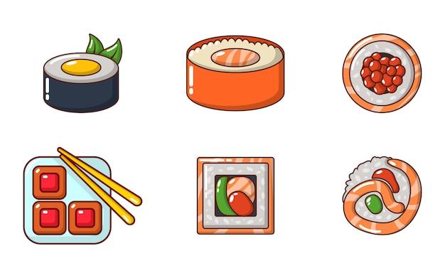 Set di icone di sushi. l'insieme del fumetto delle icone di vettore dei sushi ha impostato isolato