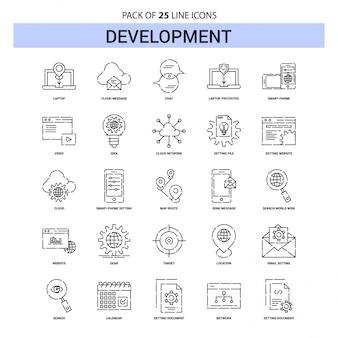 Set di icone di sviluppo linea - 25 stile contorno tratteggiato