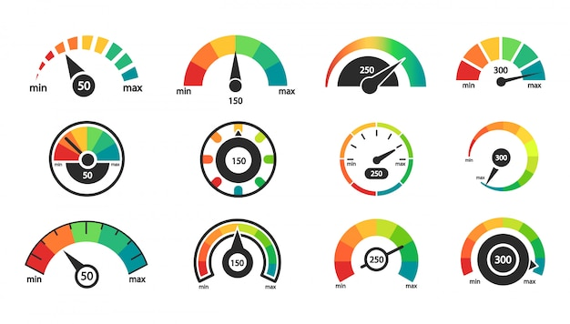 Set di icone di tachimetro. scala dell'indicatore. rating del credito aziendale.