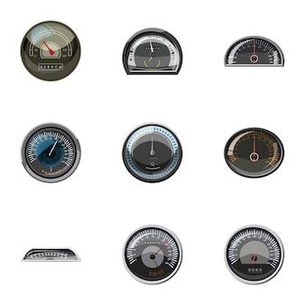 Set di icone di tachimetro, stile cartoon