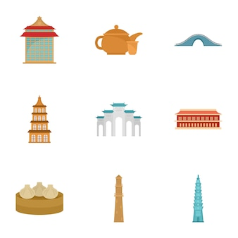 Set di icone di taipei, stile piano