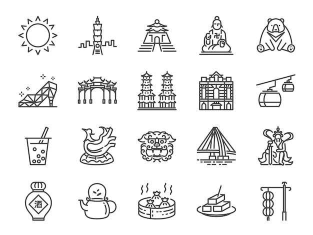 Set di icone di taiwan