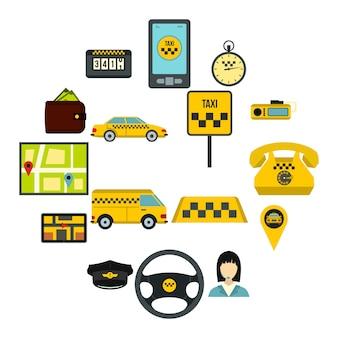 Set di icone di taxi, stile piano