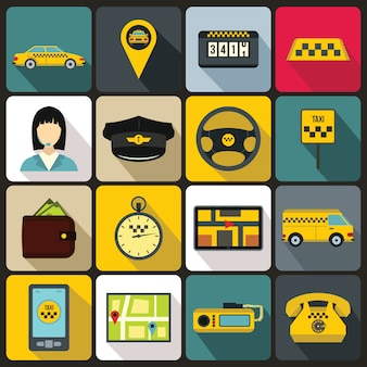 Set di icone di taxi, stile piatto