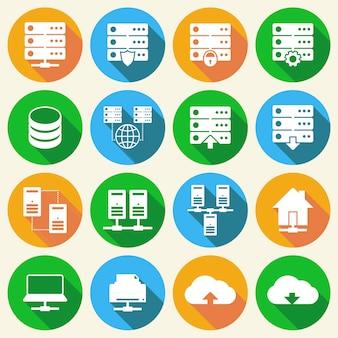 Set di icone di tecnologia di hosting