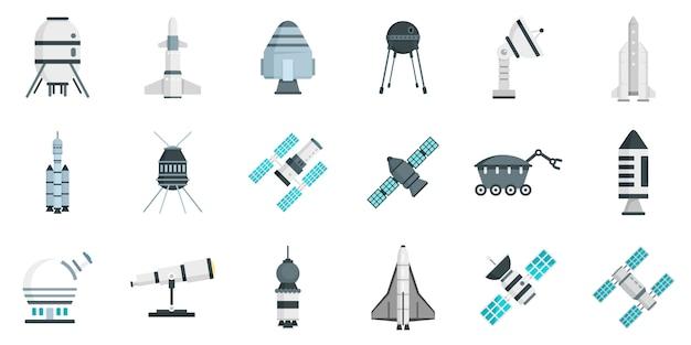 Set di icone di tecnologia di ricerca spaziale