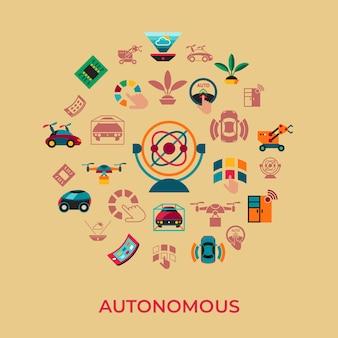 Set di icone di tecnologia di trasporto autonomo