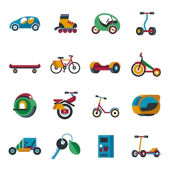 Set di icone di tecnologia di trasporto eco verde