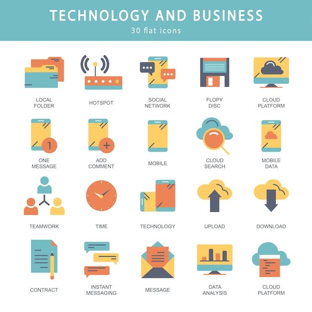Set di icone di tecnologia e business