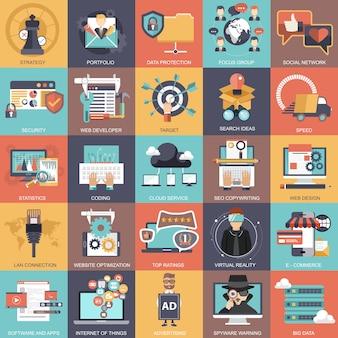 Set di icone di tecnologia e finanze aziendali