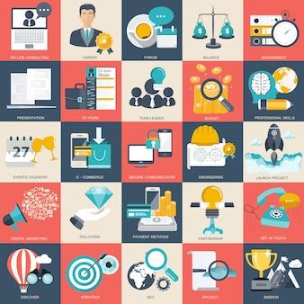 Set di icone di tecnologia e finanze