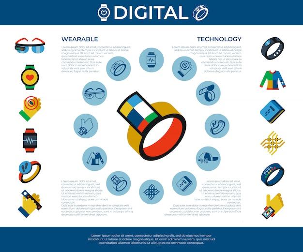 Set di icone di tecnologia indossabile