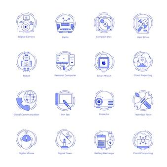 Set di icone di tecnologia linea