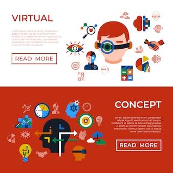 Set di icone di tecnologie di analisi e innovazione aumentate