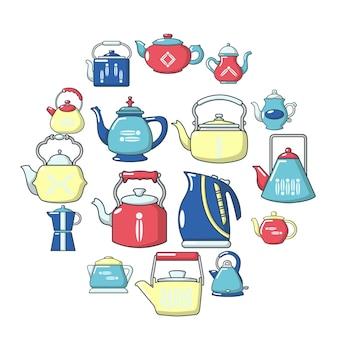 Set di icone di teiera, stile cartoon