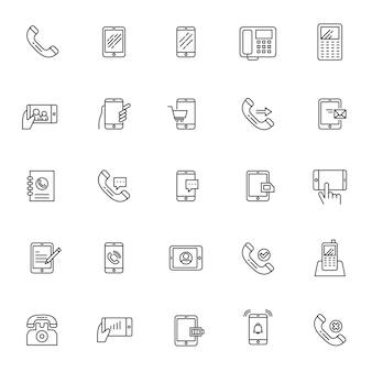 Set di icone di telecomunicazione del telefono con contorno semplice