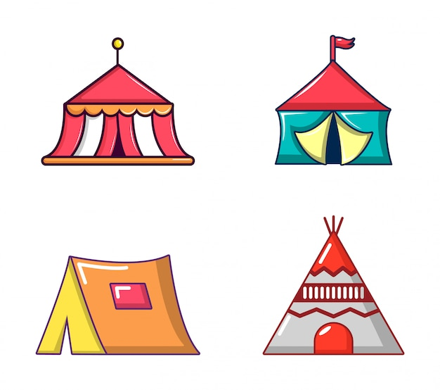 Set di icone di tenda. l'insieme del fumetto delle icone di vettore della tenda ha messo isolato
