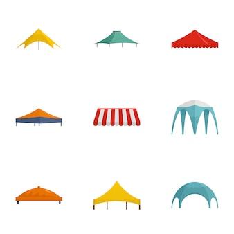 Set di icone di tenda. set piatto di 9 icone vettoriali tenda