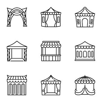 Set di icone di tenda, struttura di stile