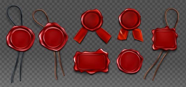 Set di icone di tenuta sigillo timbro sigillo di cera rossa