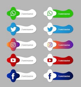 Set di icone di terzi inferiori moderni di social media