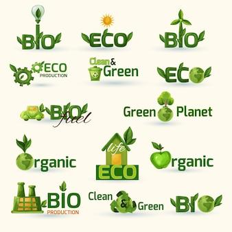 Set di icone di testo ecologia verde