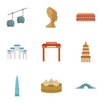 Set di icone di thailandia. set piatto di 9 icone vettoriali di thailandia