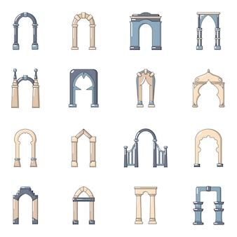Set di icone di tipi di arco