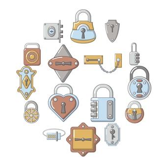 Set di icone di tipi di porta serratura, stile cartoon