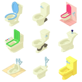 Set di icone di toilette. un'illustrazione isometrica di 9 icone di vettore della ciotola di toilette per il web