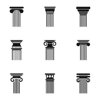 Set di icone di torre. semplice set di 9 icone torre