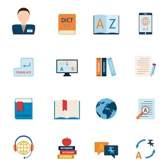 Set di icone di traduzione e dizionario