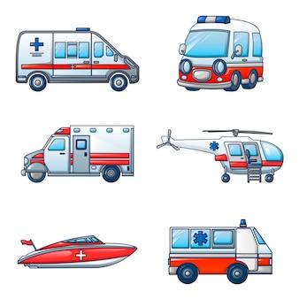 Set di icone di trasporto dell'ambulanza