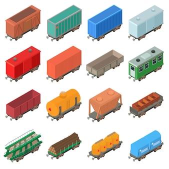Set di icone di trasporto ferroviario. un'illustrazione isometrica di 16 icone di vettore del carrello ferroviario per il web