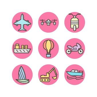 Set di icone di trasporto per uso personale e commerciale