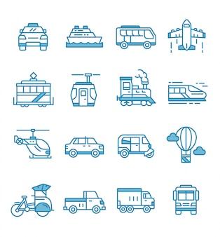 Set di icone di trasporto pubblico con stile contorno.