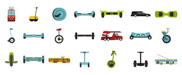 Set di icone di trasporto urbano. insieme piano della raccolta delle icone di vettore di trasporto della città isolato