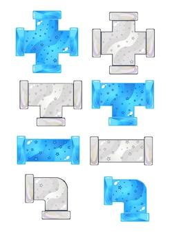 Set di icone di tubi idraulici di colore blu e grigio.