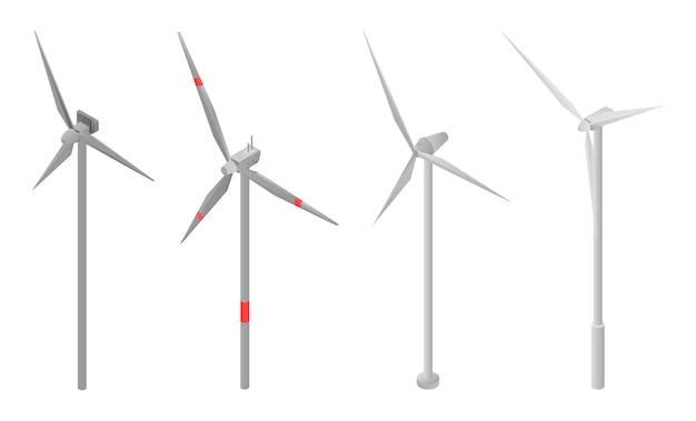 Set di icone di turbine eoliche, stile isometrico