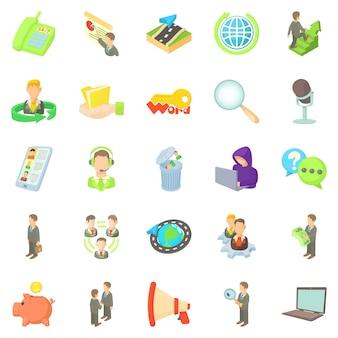 Set di icone di ufficiale di banca, stile cartoon