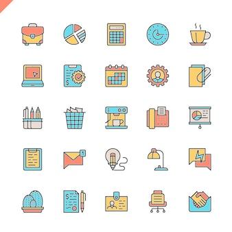 Set di icone di ufficio linea piatta