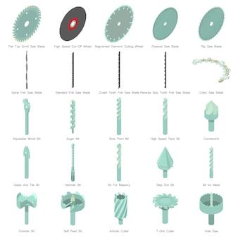 Set di icone di ugelli di trapano. un'illustrazione isometrica di 25 icone vettoriali trapano ugello per il web