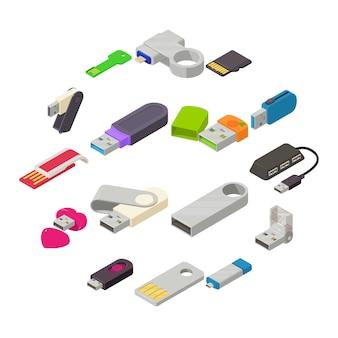 Set di icone di unità flash usb, stile isometrico