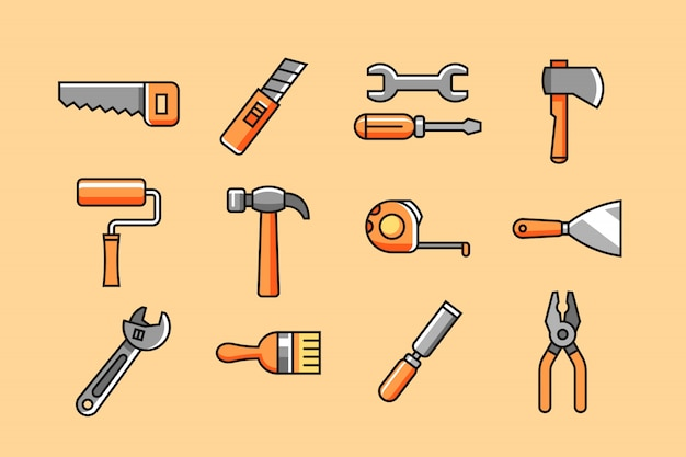 Set di icone di utensili a mano
