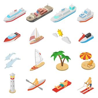Set di icone di vacanza di navi e spiaggia