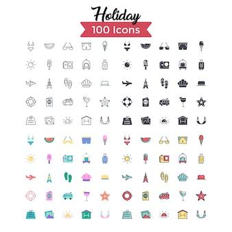 Set di icone di vacanza.