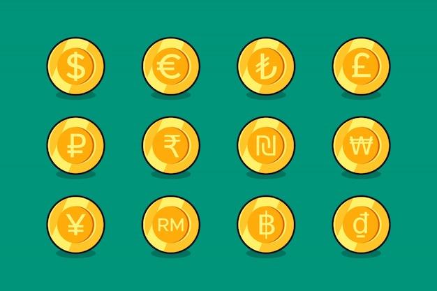 Set di icone di valuta